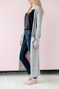 Thin Pocket Cardi - Light Grey