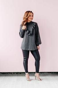 Sophisticated Ruffle Top - Charcoal