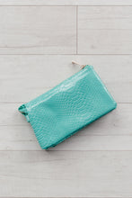 Load image into Gallery viewer, Convertible Clutch / Crossbody / Wristlet - Snake Turquoise