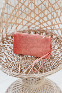 Convertible Clutch / Crossbody / Wristlet - Croc Coral