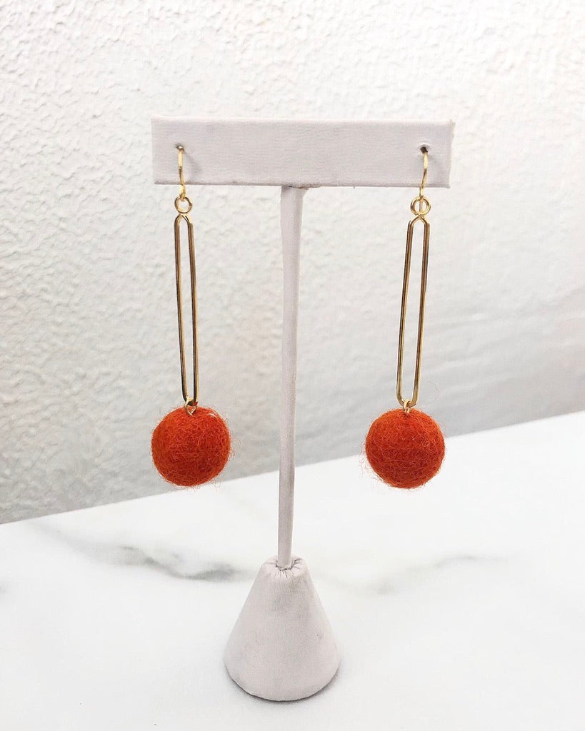 The Drop Pom Earring - Orange