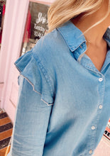 Load image into Gallery viewer, Ruffled Chambray Button Down Top