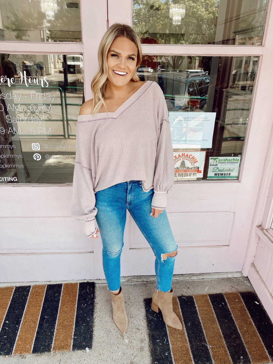 Slouchy But Cute Top - Mauve