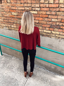 You Choose One Shoulder Waffle Top - Burgundy