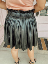 Load image into Gallery viewer, Pleated Leather Mini Skort - Black