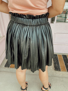 Pleated Leather Mini Skort - Black