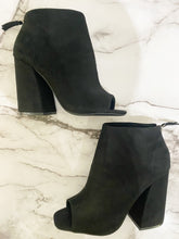 Load image into Gallery viewer, Peep Toe Chunky Suede Bootie - Black