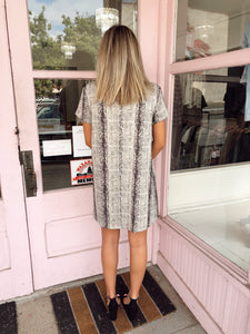 Suede Snake Shift Dress