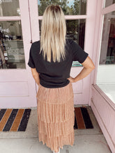 Load image into Gallery viewer, Champagne Cupcake Tiered Midi Skirt