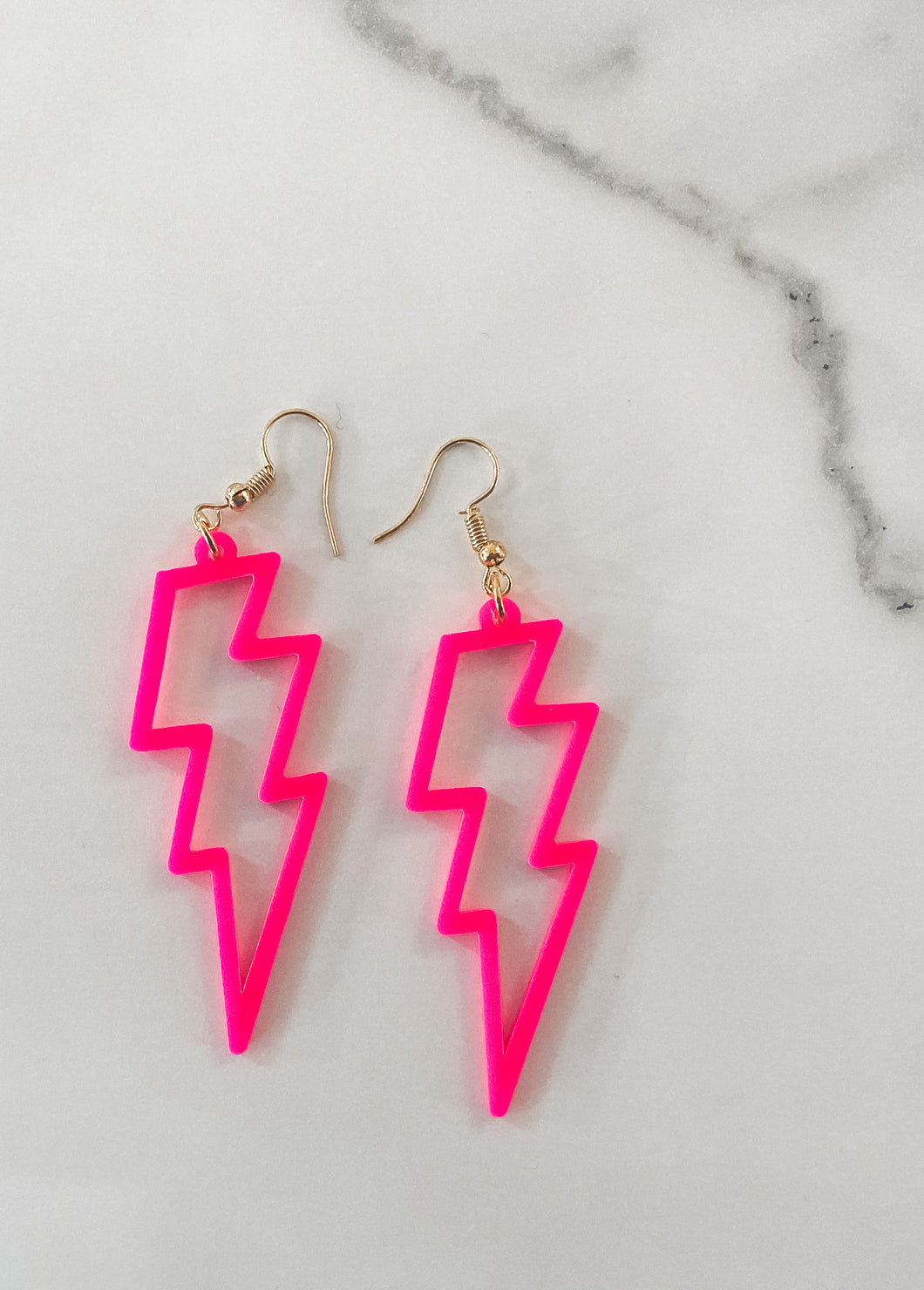 Lightning Bolt Earrings - Hot Pink
