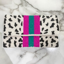 Load image into Gallery viewer, Hot Pink & Turquoise Leopard Clutch