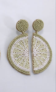 Beaded Lime Earring