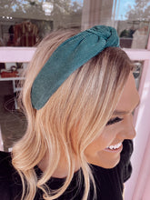 Load image into Gallery viewer, Corduroy Knot Headband - Green