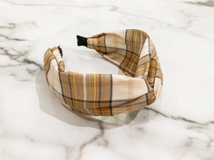 Shimmer Plaid Headband - Pumpkin