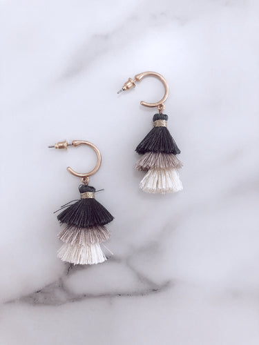Mini Tassel Hoop - Grey