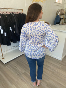 Periwinkle Blue Leopard Quarter Length Blouse