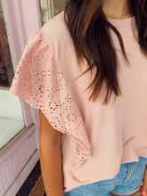 Load image into Gallery viewer, Eyelet Sleeve Tee - Blush