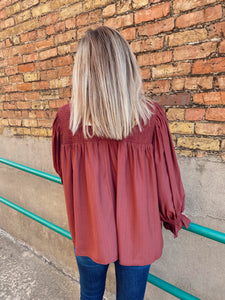 Face It, It's Fall Blouse - Burgundy