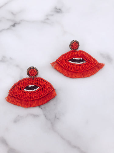 Beaded Lip Tassel Earrings
