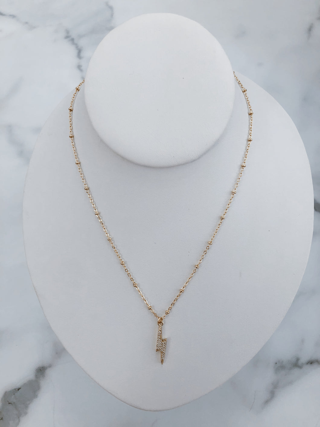 Crystal Pave Bolt Necklace