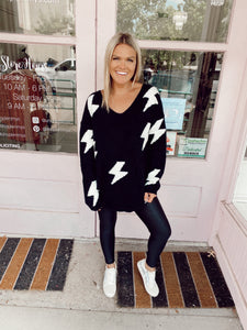 Lightning Struck Twice Sweater - Black