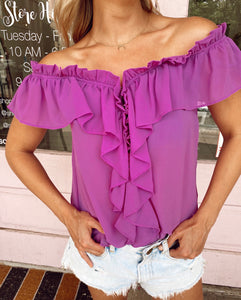 Off the Shoulder Ruffle Blouse - Orchid