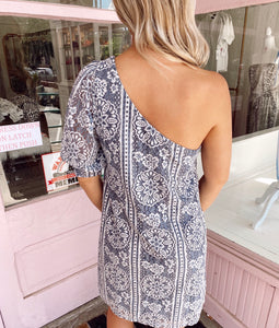 One Shouldered Floral Lace Dress