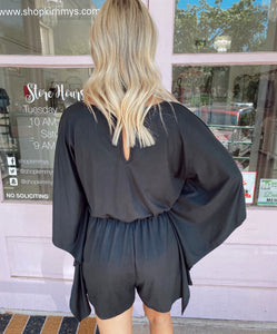 Butterfly Sleeve Cinched Waist Romper - Black