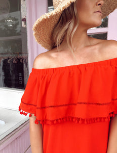 Off The Shoulder Pom Pom Dress - Red