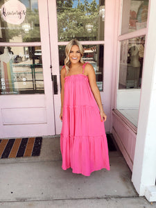 Tie Shoulder Ruffle Layered Maxi - Pink