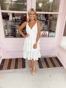 Multi Tiered Midi Dress - White
