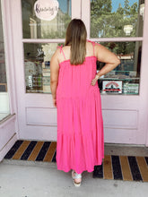 Load image into Gallery viewer, Tie Shoulder Ruffle Layered Maxi - Pink