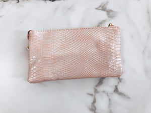 Convertible Clutch / Crossbody / Wristlet - Metallic Blush Pink