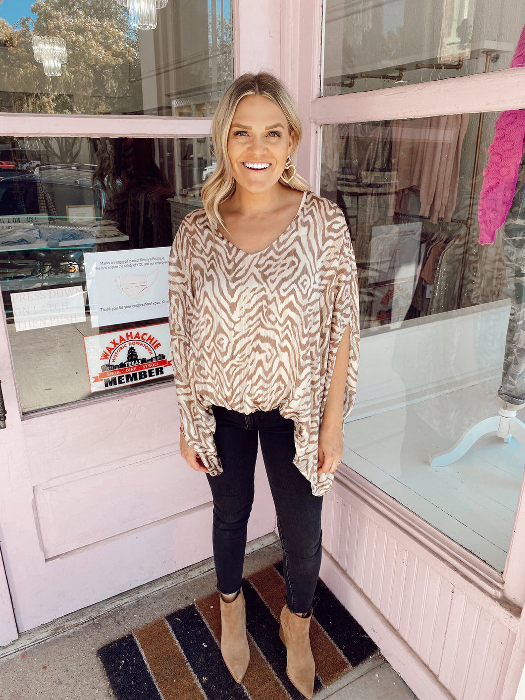 Glitter Thread & Tiger Striped Blouse