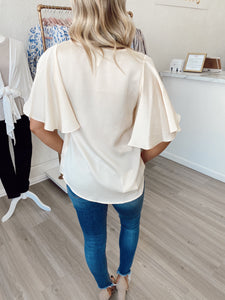 Hammered Satin Flare Sleeve Blouse- Butter