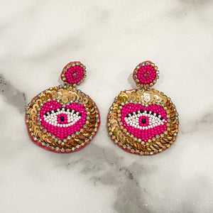 Sequin, Eye, & Heart Earrings- Pink