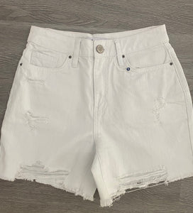 Dream High Rise Distressed Shorts - White Wash