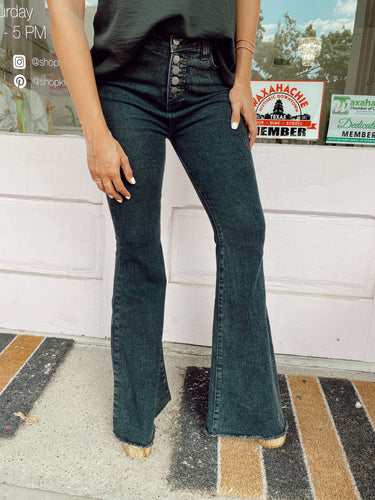 Button Black Flare Jeans
