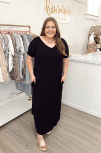 Curved Hem Boxy Maxi Dress - Black