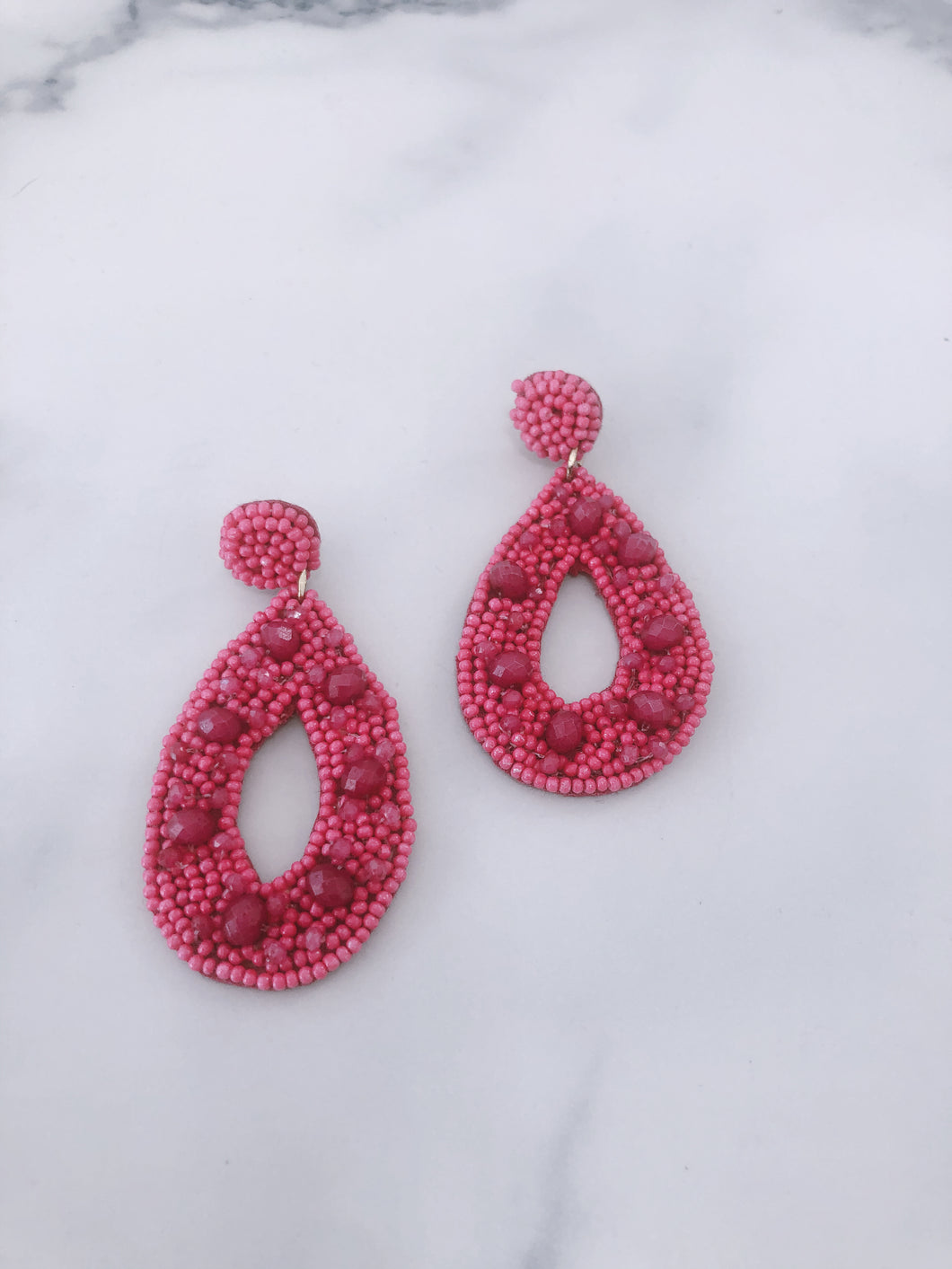 Beaded Hot Pink Earrings