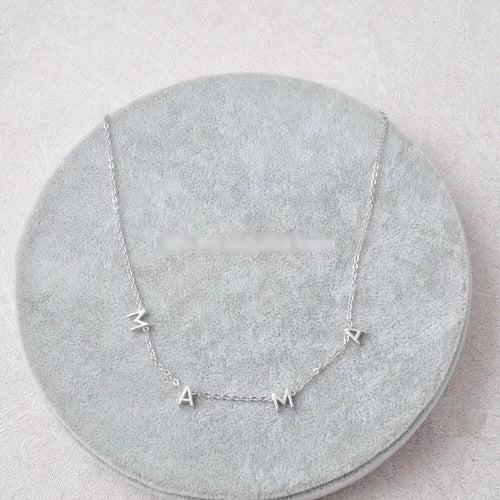 The Dainty Mama Letter Necklace - Silver