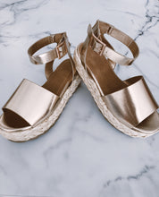 Load image into Gallery viewer, Champagne Platform Sandal Wedge