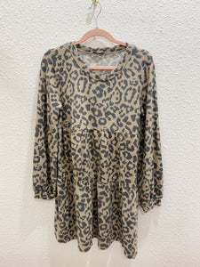 Leopard Babydoll Sweater Dress