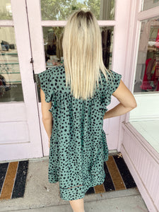 Spotted Baby Doll Dress - Sage