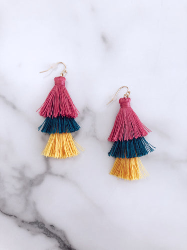 Multi Colored Summer Tassel Earrings