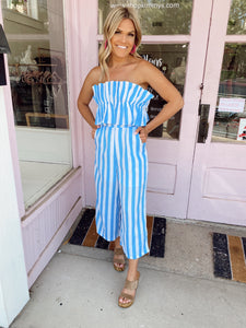 So In Love With Stripes Jumpsuit - Blue