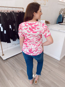 Pink Patterned Puff Sleeve Blouse