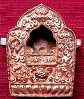 Tibetan Reliquary in Repousse Copper