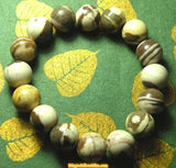 Bracelet / Mala wrist in two-tone chocolate / cream jasper