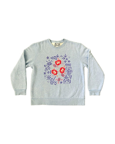 Embroidered Flower Crewneck